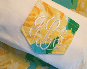 Long Sleeve Lilly Pulitzer Fabric Monogrammed Pocket Tee