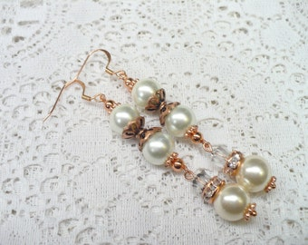 OOAK Vintage White/Ivory PEARL Crystal Earrings - wedding - rose gold tone metal - pierced dangle - Bridesmaid- Rustic fall wedding - bridal