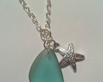 Starfish and tumbled seaglass charm necklace on twenty inch chain
