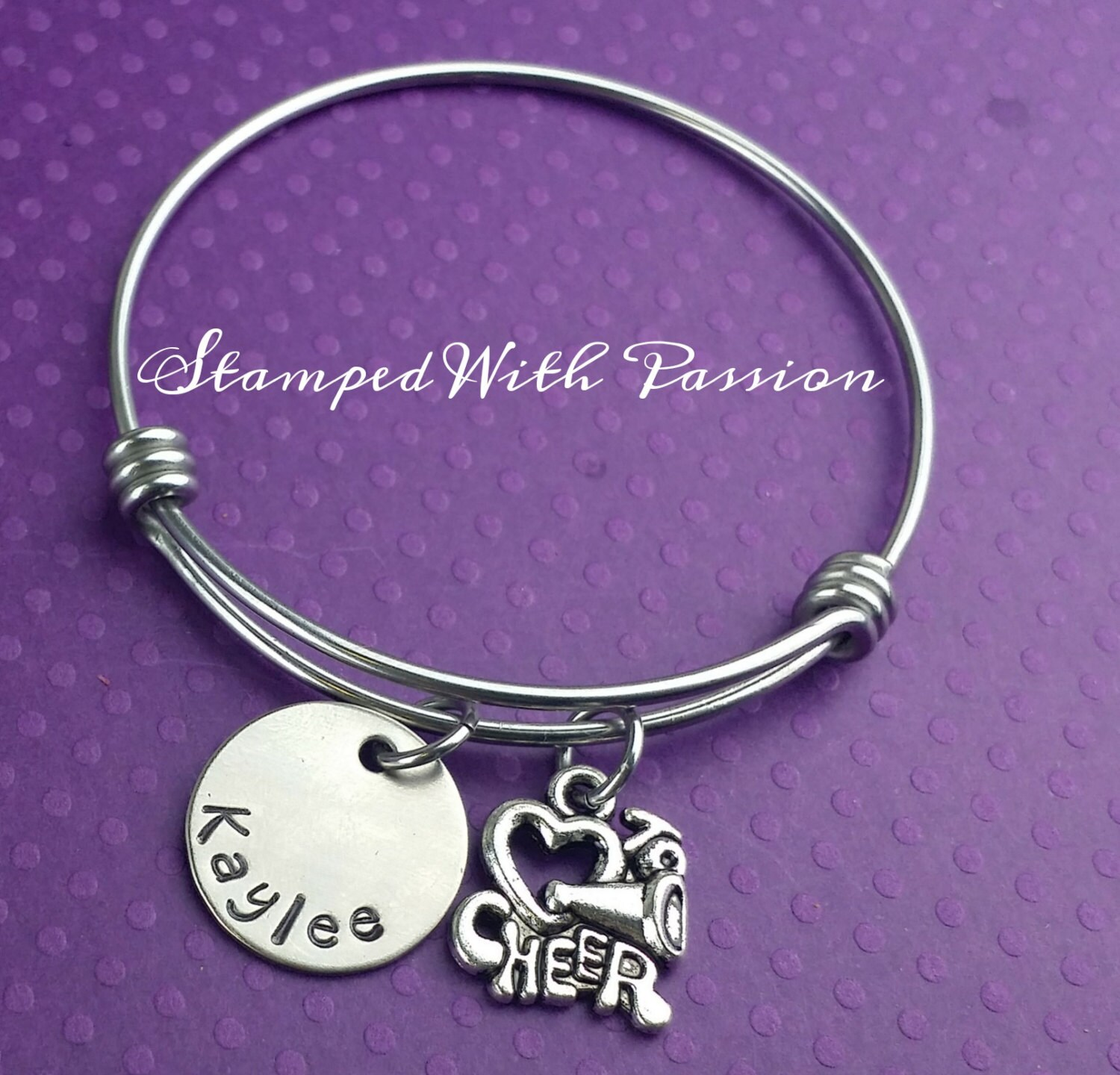 Cheer Bangle Bracelet Charm Bracelet By StampedWithPassion