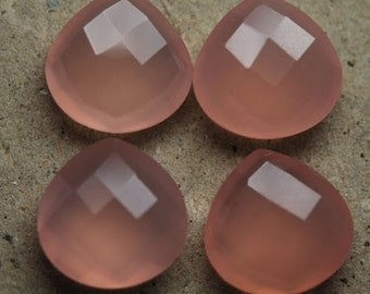 25 Pieces Finest Quality Lot Pink Chalcedony Heart Checker Cut Briolettes Gemstone For Jewelry