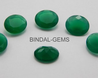 10 Pieces Amazing Lot Green Onyx Oval Shape Faceted Cut Gemstone For Jewelry