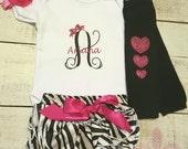 Newborn Girl. Monogram Name Onsie.  Personalized bow glitter onesie set