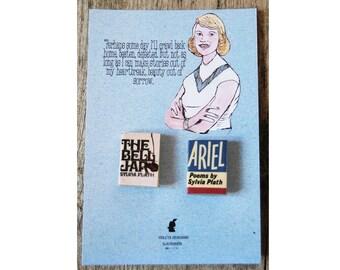 Sylvia Plath's miniature book pins set