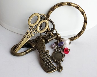 Stylist Antique Bronze Key Chain Bag Charm, Stylist Scissors Comb Mirror Pearl Crystals Key Chain Bag Charm KC34A