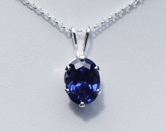 Blue Sapphire Necklace,Pendant,September Birthstone,Sterling Silver Chain,8x6 Oval Lab Sapphire,Bridal Jewelry, Wedding Jewelry,Holiday Gift