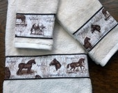 Horse Breeds - Set of Bath Towels - Choice of Color - Shell (Off White) or Chocolate Brown