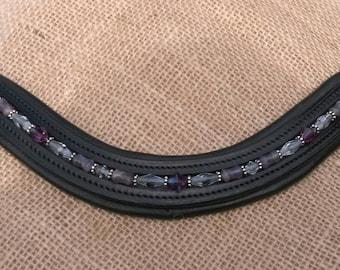 Horse Size U-shaped Dressage/English Black Padded leather beaded Brow Band - Purple