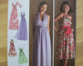 Simplicity 3502 Misses (Size H5 6,8,10,12,14) evening dress in two lengths with bodice variations and sash