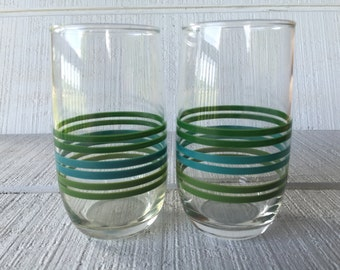 Retro green and blue striped tumbler, retro glassware , retro bar cart glasses, vintage glassware, blue and green glassware, 1970s kitchen