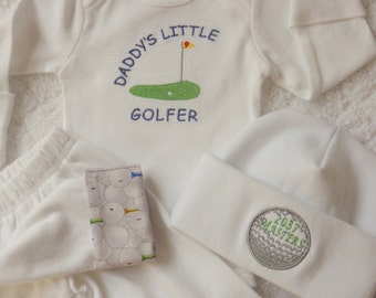 Newborn Boy Coming Home Outfit. Daddy's Little Golfer Embroidered Bodysuit. Knit Pants w/ Golf Fabric Cuffs. Baby Golf Outfit