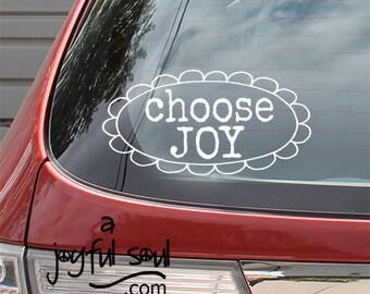 "Small ""CHOOSE JOY"" Auto Window Sticker, Fun Car Decals, Inspirational Words, Spiritual Messages, Be Positive Spread Joy, Encouragement"