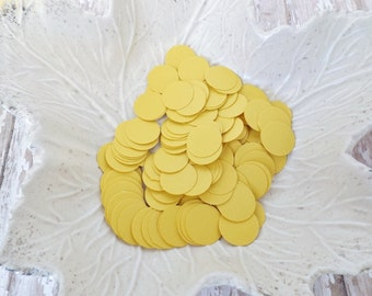 Mustard Golden Yellow Paper Confetti Circles-500 Pieces-Weddings, Showers, Birthdays-1/6, 5/8, and 1.5 Inch Sizes