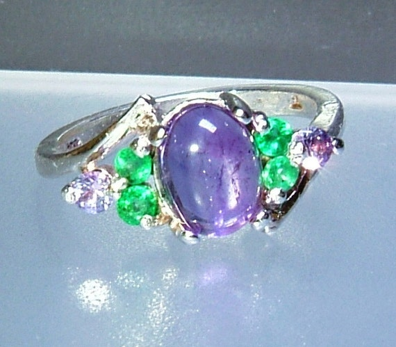 cabochon amethyst emerald purple sapphire ring sterling silver