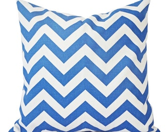 Two Blue Couch Pillows - Royal Blue and White Chevron Pillow - Decorative Throw Pillow Cover - Cobalt Accent Pillow - Throw Pillows