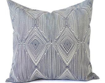 CLEARANCE - One Navy Modern Pillow Cover - Blue Pillows - Pillow Shams - Designer Pillows - 16 x 16 in 18 x 18 Inch Accent Pillow