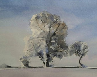 Winter, trees, snow, landscape  17 x 11 original watercolor
