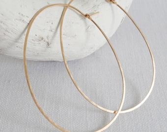 LARGE OVAL HOOPS - Classic Oval Hoop Earrings - Light Weight Hammered hoops in Sterling Silver, Gold or Rose Gold Fill