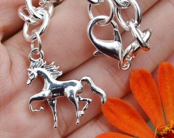 Horse Charm Bracelet Sterling Silver Plt Chain Trotting Prancing Pony BENEFITS RESCUE Equine Lover Girly Girl Birthday Mother's Day Gift