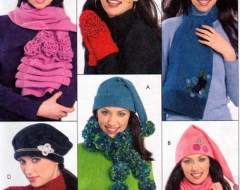 McCalls 5773, Hats, Scarves and Mittens Sewing Patterns,  Fleece Hats, Fleece Mittens, Fleece Scarves, Appliqued Hat and Mitts