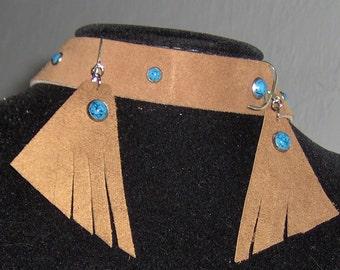 Handmade Headband Choker Earring Genuine Cowhide Leather with Turquoise Studs, Brown Twine Silver Plate Earring Set