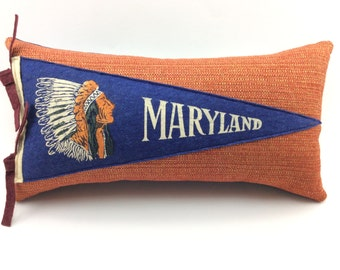 Maryland Pennant Pillow small 12 inches