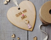 Rustic Personalised New Baby Girl Heart