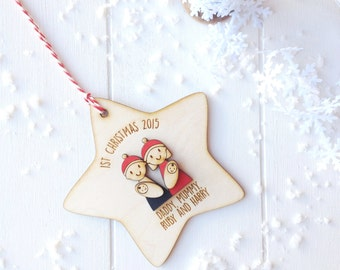 Personalised Baby Twins, Family's First Christmas Decoration