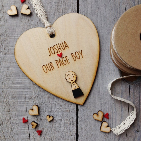 Rustic Page Boy or Usher Personalised wooden heart