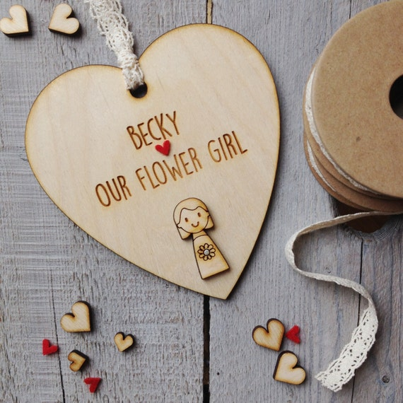 Rustic Flower Girl or Bridesmaid personalised wooden heart