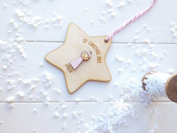 Baby girl's first christmas star - Baby's first Christmas - Personalised tree decoration