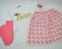 2-3 years size READY TO SHIP 'Three' printed princess birthday outfit,HandMade,Crown, Skirt, Glitter Print, Sparkly Birthday Outfit