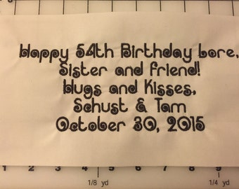 Extra Large, Personalized, Embroidered Quilt Label