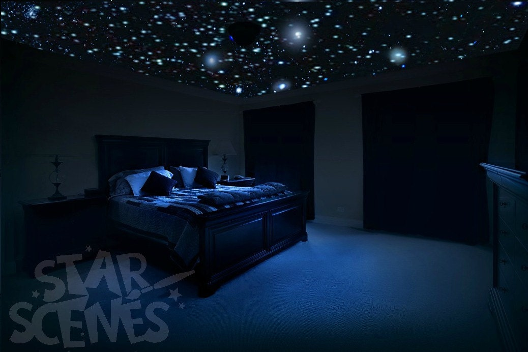 Ceiling stars for romantic bedroom diy glow in the dark star - Stars for walls decorating ...