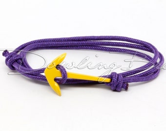 Yellow Anchor Bracelet on Solid Purple Maritime Cord