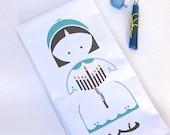 Hanukkah Tea Towel. Chanukah. Girl with Menorah. Hand Screen Printed. Holiday Kitchen Towel. 100% Cotton.
