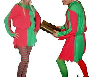 Santas Little Helper Christmas Green n Red Deluxe His or Hers Elf Costume