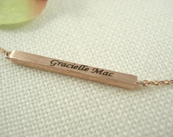 Personalized Gold or Rose gold bar necklaces...Celebrity inspired style, dainty minimalist handmade necklace, everyday, bridesmaid gift