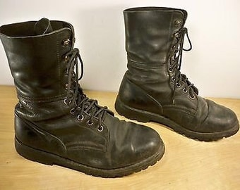 Vintage Kastinger Ranger Military Combat Motorcycle Riding Leather Men's Boots Size 9.5 US