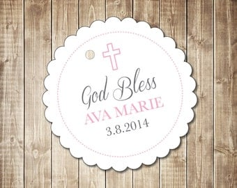 Baptism - Communion - Favor Tags - Round Scalloped Edge