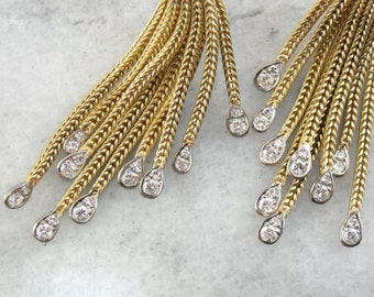 Stunning Diamond Tassel Drop Earrings, Contemporary Luxury CHKYKZ-N