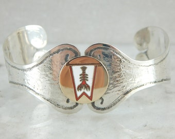 For the Lobstering Lady, a One of a Kind Cuff Bracelet in Gold and Silver UNEJER-R