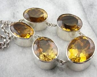 Modernist, High Fashion Citrine Gemstone Necklace in Sterling Silver NQNDDN-N