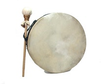 Stoneware Pottery Hoop Hand Drum, Roped Bodhran with Goat Skin Head and Padded Mallet