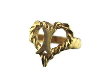 "Vintage 14k HGE Heart Shaped Monogram Initial ""I"" Ring Size 6"