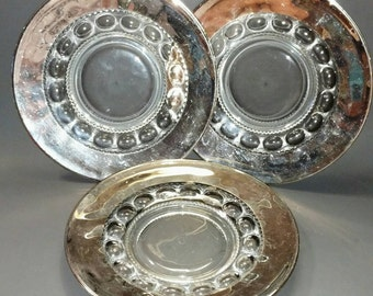 Set Of 3 Vintage Stainless Steel Rimmed Plates (150-1)
