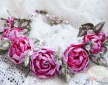 Pink Peony Necklace - Pink Rose Necklace - Polymer Clay Necklace - Bridesmaids Peony Necklace - Polymer Rose Necklace - Pink Rose Jewelry