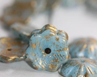 Czech Glass Bead Cup Flower 14mm Light Blue matte/gold rain : 8 pc (1908)