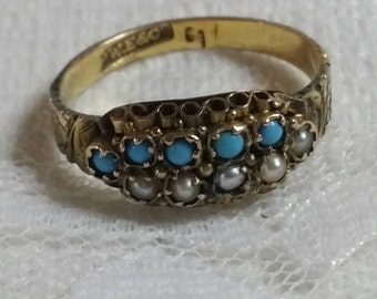 Turquoise cluster ring. Vintage turquoise ring.Antique turquoise pearl ring.Seed pearl ring. Seed turquoise ring. Turquoise ring. Pearl ring