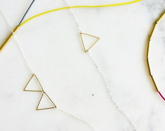 Triangle Long Necklace, Geometric Jewelry, Sterling Silver Necklace, Statement Necklace, Asymmetrical